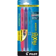 Pilot FriXion Ball Clicker Erasable Gel Pens, Fine Point, Assorted, 3/Pack (31469)