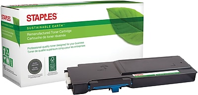 Staples® Remanufactured Color Toner Cartridge, Dell C2660 (593-BBBT, 488NH, 593-BBBN, TXM5D), Cyan, High Yield