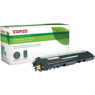 Staples® Sustainable Earth Reman Yellow Toner Cartridge, Brother TN210Y (SEBTN210YR)