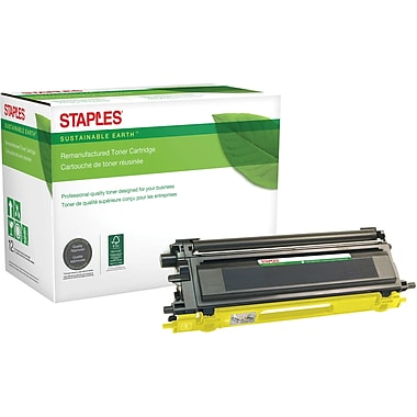 Staples® Sustainable Earth Reman Yellow Toner Cartridge, Brother TN115Y, High-Yield (SEBTN115Y)