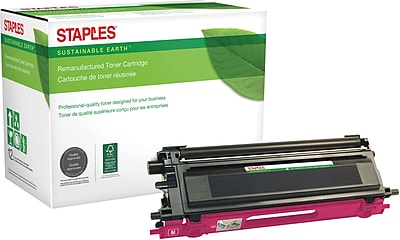 Staples® Remanufactured Color Laser Toner Cartridge, Brother TN115 (TN-115M), Magenta, High Yield