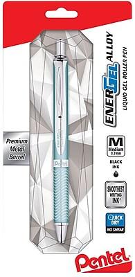 Pentel® EnerGel® Alloy Retractable Gel Pen, Blue Barrel, Medium Point, Black, Each