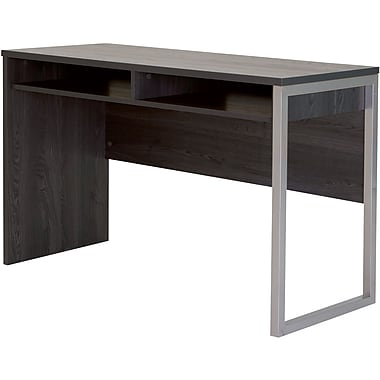 Interface Desk with Storage, Gray Oak