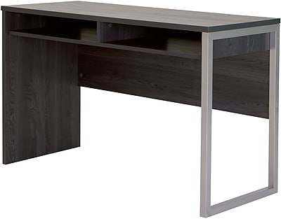 Interface Desk with Storage, Gray Oak
