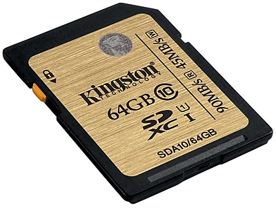 Kingston® SDA10/64GB Ultimate Class 10 UHS-I 64GB SDHC Flash Memory Card