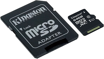 Kingston 64GB microSDHC Class 10 UHS-I 45MB/s Read Card + SD Adapter