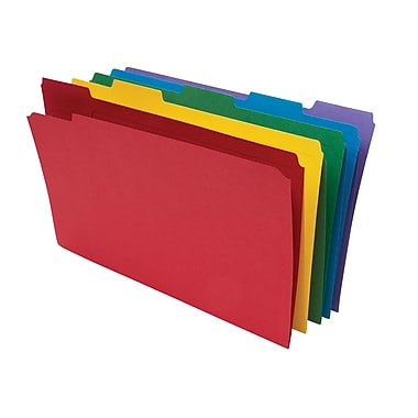 Staples® Colored File Folders w/ Reinforced Tabs, Legal, 5 Tab, 100/Box