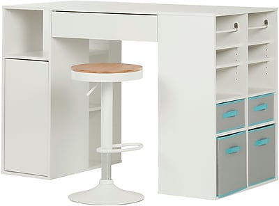 Crea Pure White Counter-Height Craft Table and Stool Set