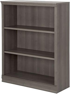 Morgan 3-Shelf Bookcase, Gray Maple
