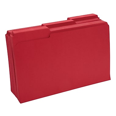 Staples® Colored File Folders w/ Reinforced Tabs, Legal, 3 Tab, Red, 100/Box