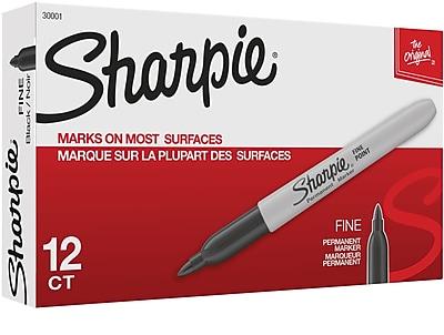 Sharpie® Fine Point Permanent Markers, Black, 1/Dz (30001)