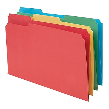 Staples® 100% Recycled Colored File Folders, Legal, 3 Tab, Assorted Positions, 50/Box