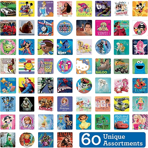 """SmileMakers® Licensed Character Sticker Sampler, Assorted Designs, 2-1/2"""" Stickers, 5,950  Total Stickers (LI60-R)"""