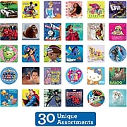 "SmileMakers® Licensed Character Sticker Sampler; Assorted Designs, 2-1/2"" Stickers, 3,000 Total Stickers (LI30-R)"