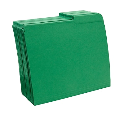 Staples® Guide-Height Colored Reinforced File Folders, Letter, Green, 100/Box