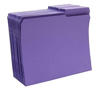 Staples® Guide-Height Colored Reinforced File Folders, Letter, Purple, 100/Box