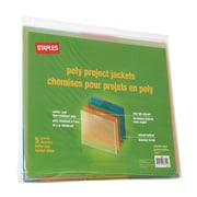 Staples® Poly Project Jackets, Letter, Assorted Transparent, 5/Pack