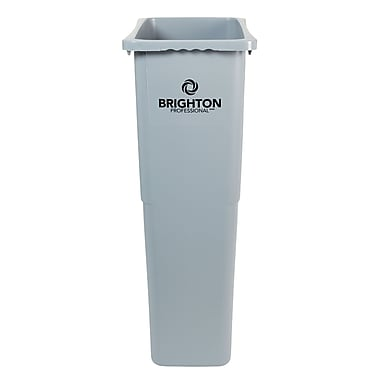 Brighton Professional Slim Wastebasket, Gray, 23 Gallon