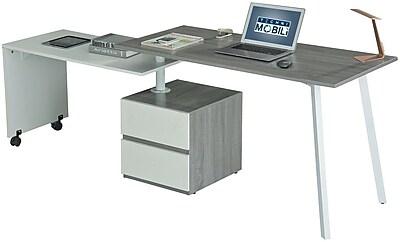Techni Mobili Rotating Multi-Position Modern Desk, Gray