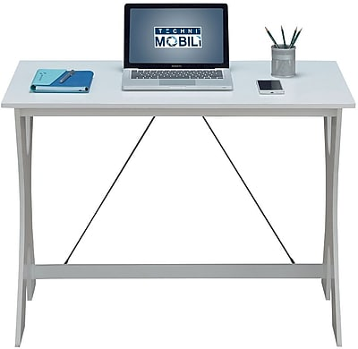 Techni Mobili Modern Matching Desk And Chair Set Colors White Gray
