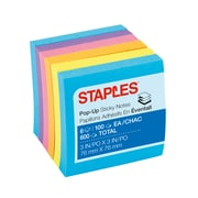 "Staples Stickies® Pop-Up Notes, Assorted Bold Colors, 3"" x 3"", 6 Pads/Pack (S-33BOP6)"