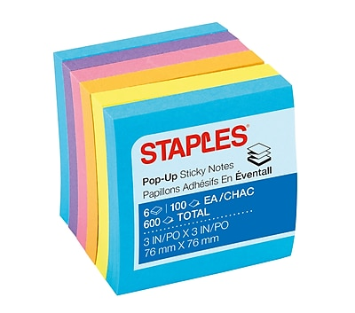 Staples Stickies® Pop-Up Notes, Assorted Bold Colors, 3