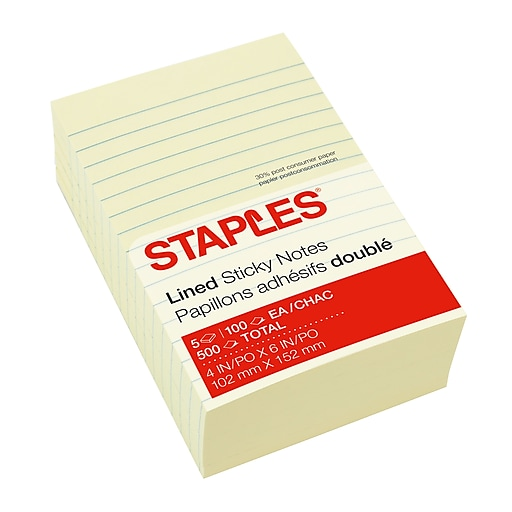 staples 4 x 6 stickies recycled line ruled notes 100 sheets pad