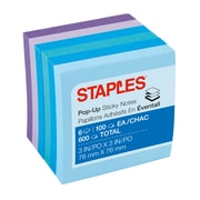 "Staples Stickies® Pop-Up Notes, Assorted Watercolors, 3"" x 3"", 6 Pads/Pack (S-33WCP6)"