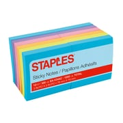 "Staples Stickies® Notes, Assorted Bold Colors, 3"" x 3"", 12 Pads/Pack (S-33BO12)"