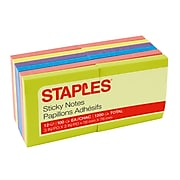 """Staples Stickies Standard Notes, 3"""" x 3"""" Assorted, 100 Sheets/Pad, 12 Pads/Pack (S-33BR12/52567)"""