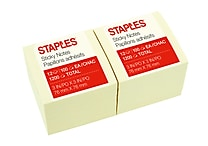 Staples® Stickies™ Recycled Notes, 3' x 3', Yellow, 12 Pads/Pack (S-33YR12)