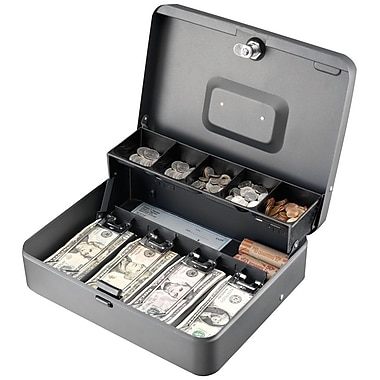 MMF Industries™ STEELMASTER® Tiered Tray Cash Box, Charcoal Gray, 3 3/16