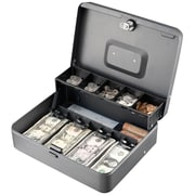 "MMF Industries™ STEELMASTER® Tiered Tray Cash Box, Charcoal Gray, 3 3/16""H x 11 13/16""W x 9 7/16""D (2216194G2)"