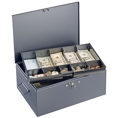 MMF Industries™ STEELMASTER® Cash Box with Ten-Compartment Tray, Gray, 6 1/8