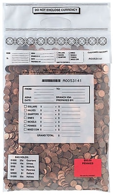MMF Industries™ Self-Sealing Coin Tote Bag, 6.5 mil., Clear, 22