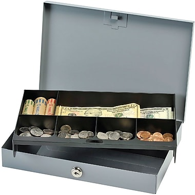 MMF Industries™ STEELMASTER® Cash Box with Security Lock, Gray, 2