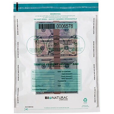 MMF Industries™ Bio-Natural™ Tamper-Evident Bags, Clear, 16