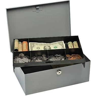 MMF Industries™ STEELMASTER® Cash Box with Security Lock, Gray, 4 2/8