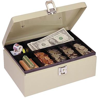 MMF Industries™ STEELMASTER® Cash Box with Locking Latch, Sand, 4in.H x 11in.W x 7 3/4in.D