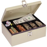 "MMF Industries™ STEELMASTER® Cash Box with Locking Latch, Sand, 4""H x 11""W x 7 3/4""D"