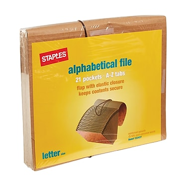 Staples® Kraft Expanding Files, Letter, A-Z Index with Flap-Elastic Cord, Each