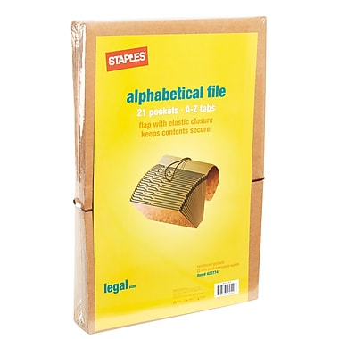 Staples® Kraft Expanding Files, Legal, A-Z Index with Flap-Elastic Cord, Each