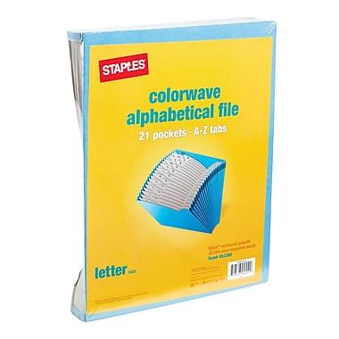 Staples ColorWave A-Z Index, Expanding Files, Letter, Blue