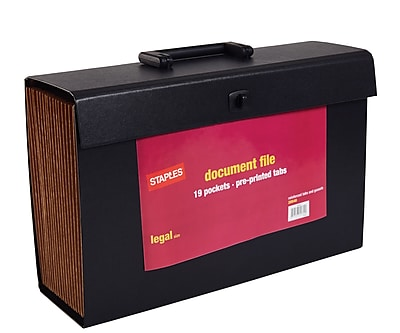 Staples Expanding File, A-Z Index, Legal Size, 19-Pocket, Black (20540-US)