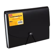 Staples® Plastic Expandable Reinforced 13- Pocket File, Letter Size, Black