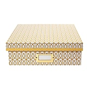 DwellStudio Gate Pattern Desktop Storage Box, Yellow (51116)