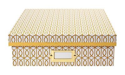 DwellStudio Gate Pattern Desktop Storage Box, Yellow (51116)