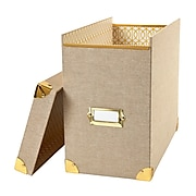 Dwell Studio Gate Interior Linen File Box, Tan (45144)
