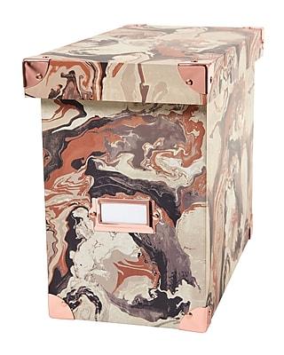 DwellStudio Marble Pattern File Box, Rose Gold (51118)