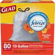 Glad® OdorShield® Tall Kitchen Drawstring Trash Bags, Hawaiian Aloha, 13 Gallon, 80 Bags/Box